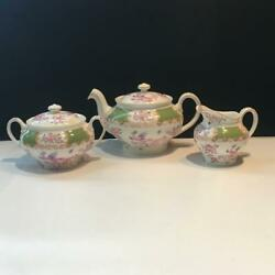 Minton Cockatrice Green 4863 3 Cup Teapot Cream And Covered Sugar Set Ch6019