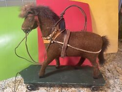 Vintage Early 1910-20's German Pull String Toy With Horse Era Cast Iron Wheels