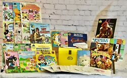 Carry Case With 37 Records, 21 Books Disney 60's,70's, 80's 33 1/3 And 45 Rpm