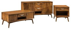 Amish Mid Century Modern Occasional 3 Table Set Home Furniture Solid Wood Maple