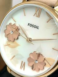 Fossil Women#x27;s Watch ES4671 Jacqueline Floral Dial Rose Gold Blue Leather Strap $69.29