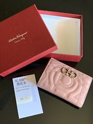 Salvatore Ferragamo Quilted Gancini Credit Card Holder Antique Rose Sold Out New