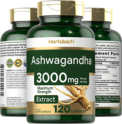 Ashwagandha Capsules 3000 Mg 120 Stress And Anxiety Relief Mood Adrenal Support