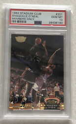 1992 Stadium Club Shaquille Oandrsquoneal Rc Members Only Rookie 201 Psa 10 Mint Shaq
