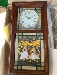 Danbury Mint New Sheltie Dog Stained Glass, Lighted, Hanging Clock. Ships Free.