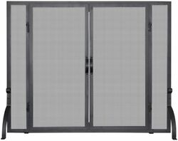 Single Panel Black Wrought Iron Screen With Doors - Smaill