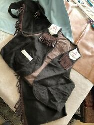 Vintage Kids Western Chaps And Vest Set Costume Hand Made Youth Andldquolargeandrdquo