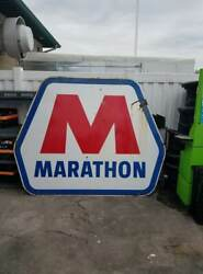 Vintage Large Porcelain Double Sided Marathon Oil Gas Station Advertising Sign