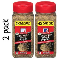 Mccormick Pure Ground Black Pepper Value Size Lot Of 2 Bottles 6 Oz /each