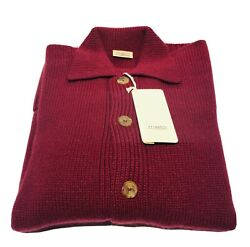 Malo 100 Cashmere Burgundy Red Menandrsquos Knit Button Cardigan Sweater