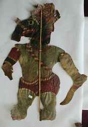 Old Antique Leather Shadow Puppet Ganesha Rare Collectible Piece Of Folk Art