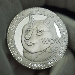 Doge 1 Dogecoin Cryptocurrency Virtual Currency Silver Plated Coin   Bitcoin