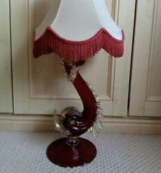 Antique Kitsch Vintage 1950's 60's Venetian Red Murano Fish Dolphin Table Lamp