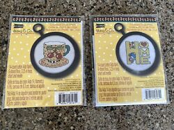 """Lot Of 2 Studio 18 Mary Engelbreit Co Counted Cross Stitch Kit """"home"""" And """"teacup"""""""