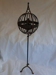 V.rare Antique 19th Century Gyroscopic Gimble Whale-oil Lamp With Stand @ 1820