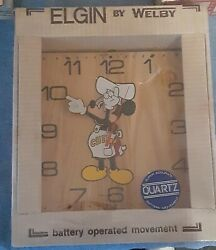 New Vintage Walt Disney Welby By Elgin Mickey Mouse Chef Mickey Wood Wall Clock