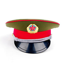 59cm Collectable Military Officer Captainand039s Visor Hat Chinese Communist Army Cap