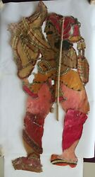 Indian Folk Art Arjuna Rare Collectible Piece Of Shadow Leather Puppet Antique