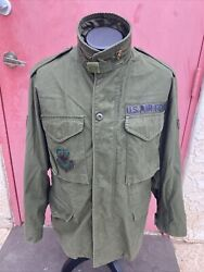 Vtg 80s Us Air Force Military M-65 Field Jacket Patch Airlift Command S Reg Coat