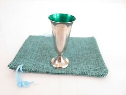 Gorham Sterling Silver Tall Green Enamel Footed Liquor Shot Cup And Bag C1960s