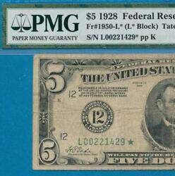 5.00 1928 Star San Fran. Numeral Green Seal Federal Reserve Note Pmg Fine 15