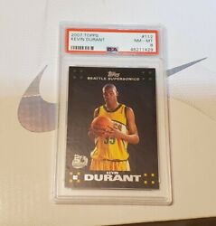 2007-08 Topps 112 Kevin Durant Seattle Supersonics Rc Rookie Psa 8 Nm-mt