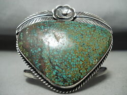 One Of The Best Ever Vintage Navajo Spiderweb Turquoise Sterling Silver Bracelet