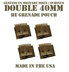 Lot Of 4 Molle 40mm Grenade Ammo Pouch Double Coyote Us Military Usmc Tactical