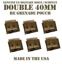 Lot Of 6 Molle 40mm Grenade Ammo Pouch Double Coyote Us Military Usmc Tactical