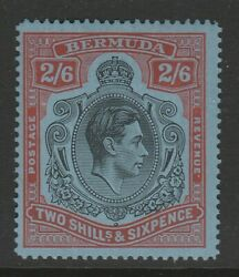 Bermuda 1938-53 2/6d Black And Red/ Grey Blue Line Perf Sg 117a Mint.