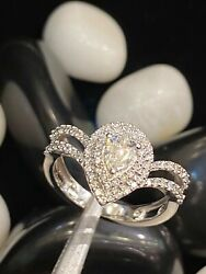 0.73 Cts Pear Round Brilliant Cut Natural Diamonds Wedding Ring In 750 18k Gold