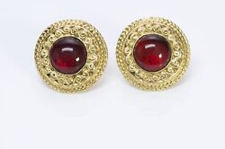 Paris 1980's Gold Plated Red Gripoix Glass Round Earrings