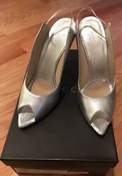Silver Leather Solid Pointed Peep Toe Sling Back Heel Shoes. Size 7.