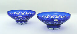 2 Ussr 6 1/2 Cobalt Cut To Clear Footed Crystal Bowls - Hand Made And Cut
