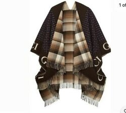 Guccibrown Checked Wool Cape Poncho Coat Jacket Signature Tassels 145/185 Cm