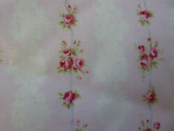 Yuwa Fabric Antique French Inspired Kate Lace Raspberry Roses on Pink Fabric