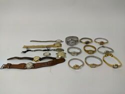 16 Vintage Wrist Watch Lot Parts/repair Elgin/bulova/timex Some Gold Untested