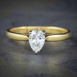 Pear Cut Diamond Solitaire Engagement Ring 18ct Gold 0.68ct Diamond Dated 2000