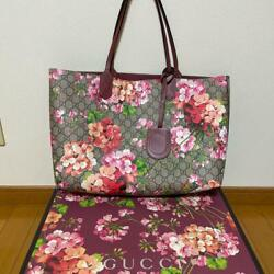Gg Blooms And Beige Reversible Tote Bag Women Used From Japan F/s Fedex Rsmi