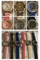 6pc Lot Watch Silicone Rubber Crystal Stainless Steel Vivani Geneva Concepts