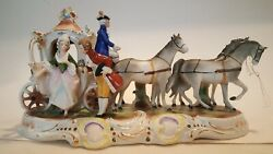 Vintage Grafenthal German Porcelain Figurine W/4 Horses And Carriage