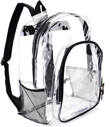 Heavy Duty Transparent Clear Backpack See Through Backpacks for SchoolSportsWo $21.42