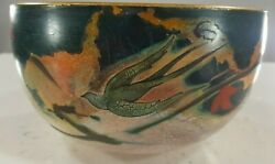 Vintage Tragin Hand Painted Bowl And039pheasants In Flightand039 Stunning Collectible