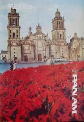 Pan Am Airways Airlines Mexico 1981 Vintage Travel Poster 28x42 Nm