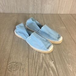 Artesania Boho Canvas Espadrille Baby Blue Jute Shoes Made In Spain Size 5.5 - 6