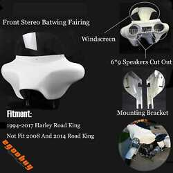 6x9 Motorcycle Speakers Batwing Fairing Stereo Detachable For Harley Road King