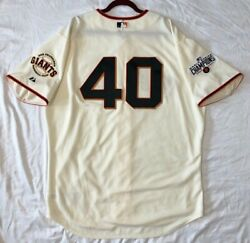 Authentic Majestic 52 2x San Francisco Giants Madison Bumgarner On Field Jersey