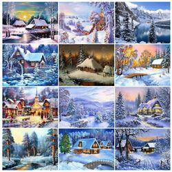 5d Diamond Painting Landscape Winter House Embroidery Cross Mosaic Picture Art