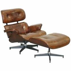 Vintage Heritage Aged Brown Leather Lounge Armchair And Ottoman Tufted Buttons