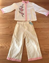 Tea Collection Girls Kids Children Top And Pants Outfit. White/pink. Size 3t.